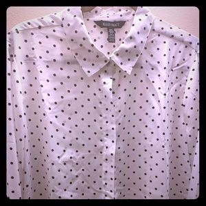 White with black polka dots Ellen Tracy blouse